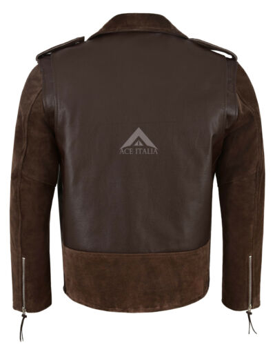 Men/'s Brando Real Leather Jacket Brown 100/% Hide /& Suede Classic Biker Style MBF