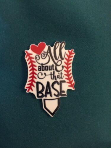 "Cute Sport Baseball Sports /""ALL About that BASE/"" Ball Team Holey Clog Shoe Charm"