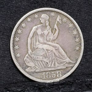 1858-O-Liberty-Seated-Half-Dollar-VF-Details-29623