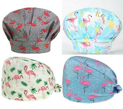 Details about  /women surgical cap tieback style PINK FLAMINGO