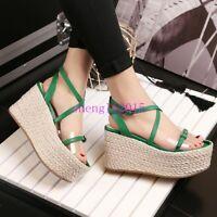 Women Fashion Sandals Bohemia Summer Beach High Wedge Heel Platform Casual Shoes