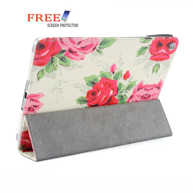 Large Rose 3 Fold Flower Pu Leather Smart Cover Case for Apple iPad Air iPad 5