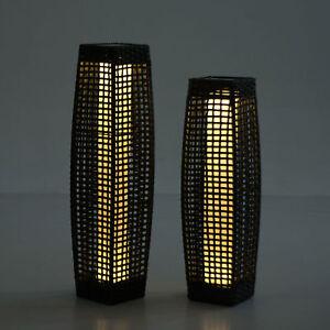 Image Is Loading Rattan Solar Powered Lamp LED Tall Lantern Garden