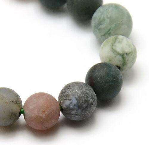 Piedras preciosas indio achat perlas 4mm Frosted verde alrededor de naturaleza semipreciosas g732