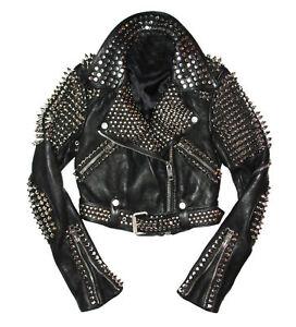 6c354b98285 Image is loading Studded-Rock-Punk-Men-Women-Leather-Jacket-Motorbike-