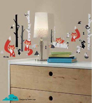 RED FOX FOREST wall sticker 60 decal tree hedgehog rabbit bird woodland animals