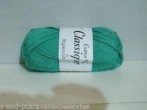 Stylecraft-Classique-Cotton-Double-Knit-50g-Ball-Tropical-Jade-Shade-3676