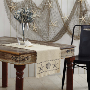 Pleasant Details About New Shabby Beach House Cottage Chic Sea Shell Star Fish Burlap Table Runner 36 Download Free Architecture Designs Remcamadebymaigaardcom