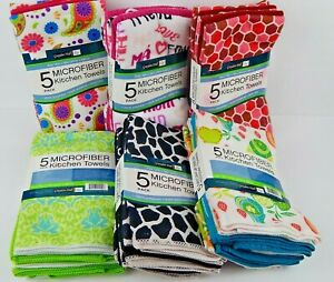 Graydon-Hall-5-Pack-Microfiber-Kitchen-Towels-Assorted-Colors-Designs-Styles