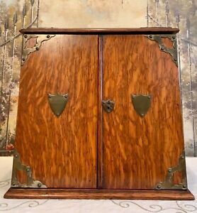 Vintage-Edwardian-Tobacco-Smokers-Cabinet-Lock-and-Key