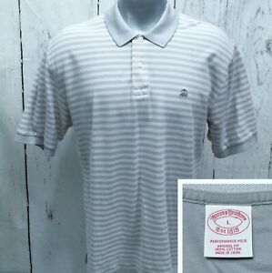 BROOKS-BROTHERS-L-Large-S-S-Polo-Style-Original-Fit-Shirt-Light-Gray-Striped