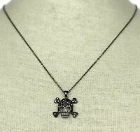 Black Rhinestone Skull Bones Necklace Black Chain Womens Gothic Punk Jewelry
