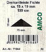1000 x 15 x 15 mm Amco Dreikantleiste Nadelholz