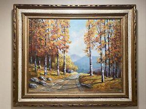 """Vintage Signed Framed Oil Painting Fall Trees Landscape Ornate Wood Frame 22x28"""""""