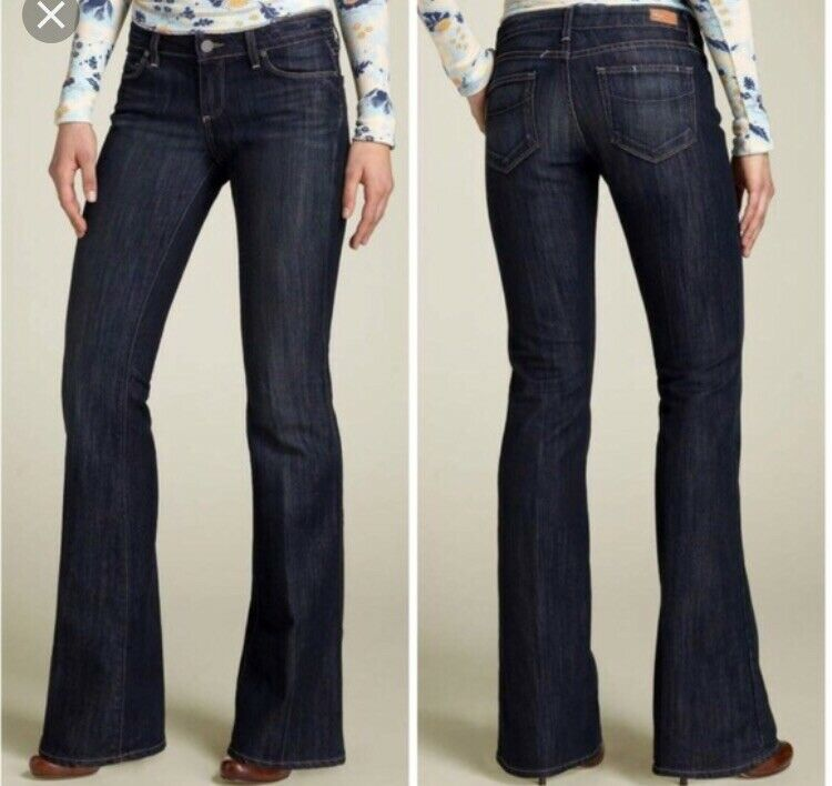 New-Paige Laurel Canyon Dk bluee Low Rise Boot Cut Women's Jeans size-28x34