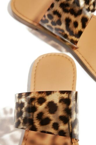 SIZE 5.5 6,6.5,7,7.5,8,8.5,9,10 NEW*LADIES WILD PRINT DOUBLE BANDS FLAT SANDALS