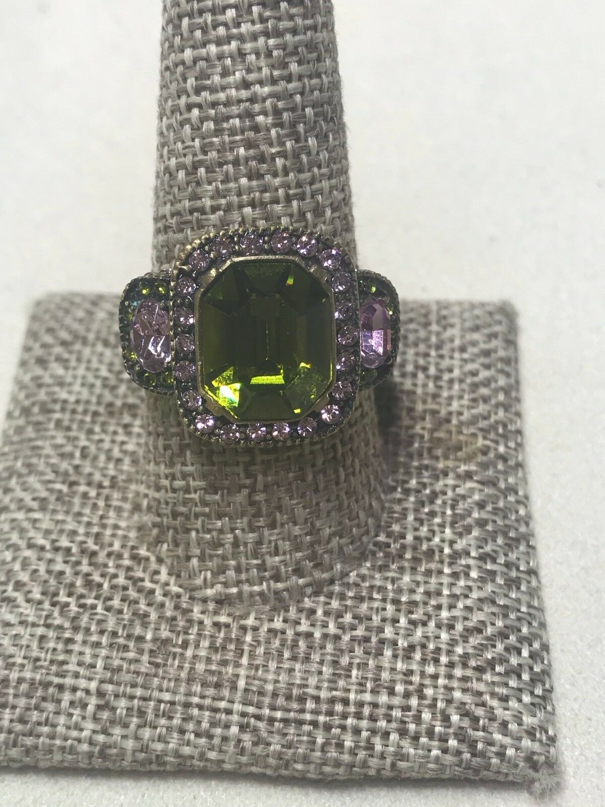Heidi Daus Green and Pink Stone Ring