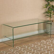 Contemporary Glass Entertainment TV Console Stand with Shelf