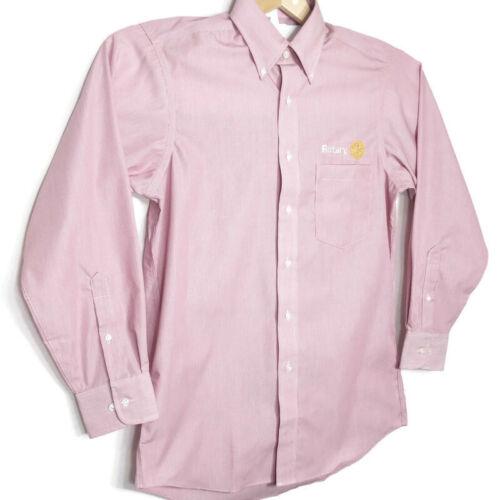 Rotary Club Van Heusen Mens Shirt Button Front Long Sleeve Red White Pinstripe