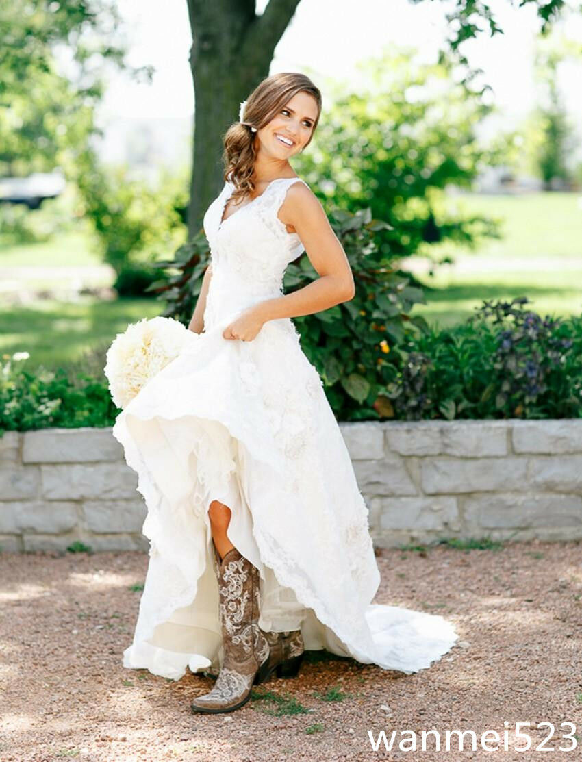 A line v neck country wedding gowns rustic bridal dress for Ebay china wedding dress