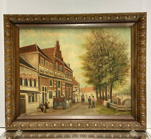 Oil Painting on Canvas Dutch Village Scene Signed Seven Wood Picture Frame