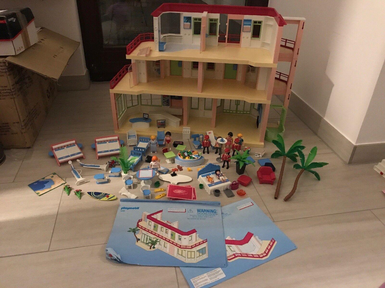 Playmobil 5265 und 5269 Hotel 3 Etagen Haus viel Zubehör Figuren