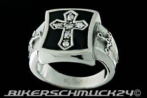 Ring-mit-Kreuz-verziert-mit-Zirkonia-und-Schwertern-Edelstahl-Herren-Geschenk