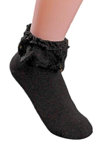 AM Landen Super Cute Black Princess Lace Ruffle Frilly Ankle Socks