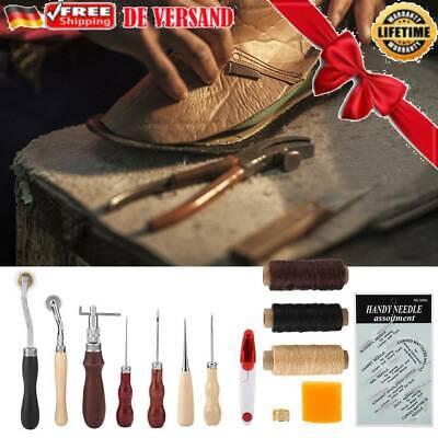 Leder Werkzeug Stitching Craft Hand Nähen Sewing Locher Stechahle Set Neu 48tlg