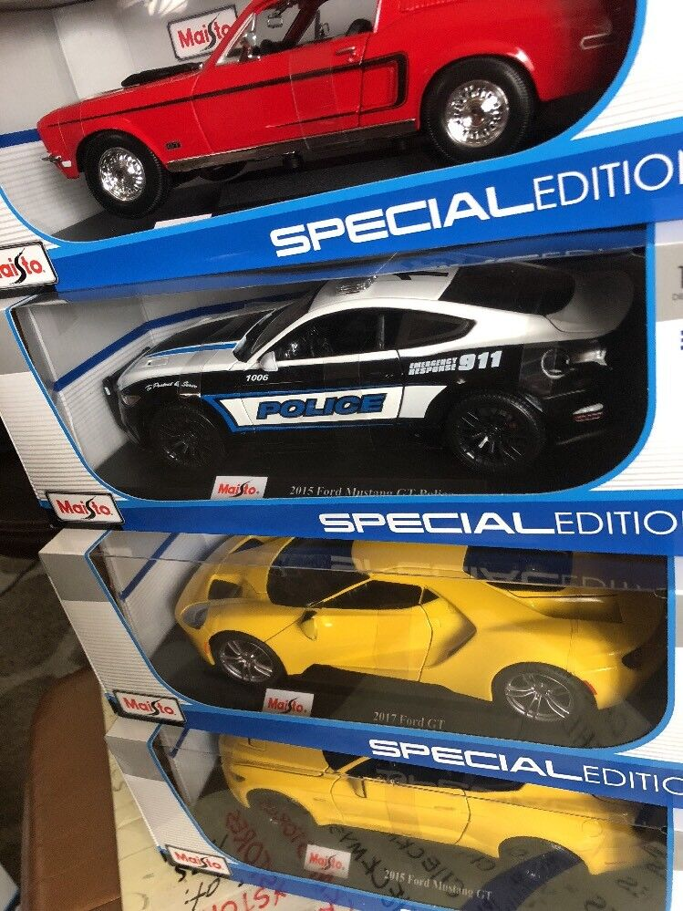 4 Maisto Maisto Maisto 1 18 Scale 2015 FORD MUSTANG GT,POLICE,1968 GT COBRA JET,2017 FORD GT 3248fa