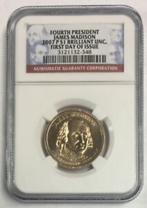 2007-P-1-James-Madison-Presidential-Dollar-First-Day-Issue-BU-NGC-SKU-6153