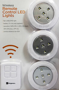 3pc Wireless Remote COntrol LED SMD Light Spotlight Battery Operated With Rem