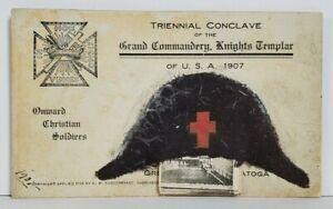 Knights-Templar-Triennial-Conclave-USA-1907-Applied-Felt-Hat-Postcard-M16