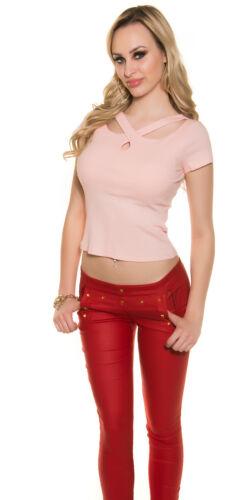 Trendy Ripp Shirt T-Shirt Crop Top Cut Out Bluse Necktop Raffinierter Ausschnitt