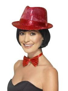 f9a3516ee31 RED SEQUIN LADIES GANGSTER TRILBY SPARKLY 20s HAT GLITTER UNISEX ...