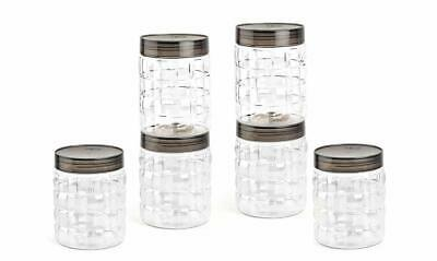 Plastic Container Set 6pc 650ml For Kitchen Spice Jars Clear Color Black Lid Ebay