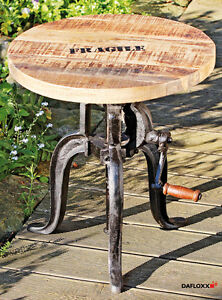 Genial-Table-d-039-appoint-FLEXO-manivelle-50-74cm-reglable-en-hauteur-fer-bois-NEUF