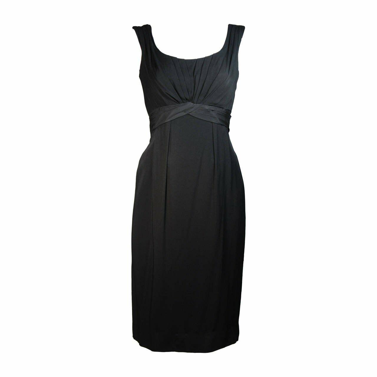 CEIL CHAPMAN 1950s Black Draped Cocktail Dress Si… - image 1