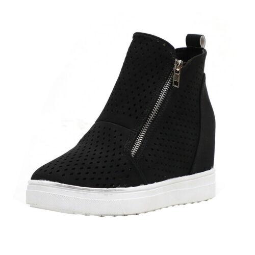 Women Toe Side Zip Ankle Boots High Wedge Heel Flat Platform Shoes Plus Size SH