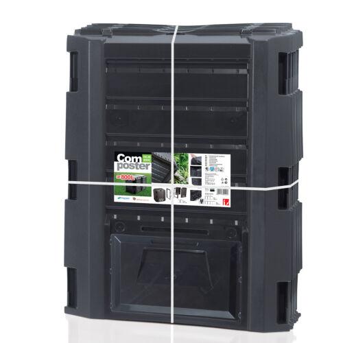 Compostiera da giardino Compostaggio Plastica Nero 800L