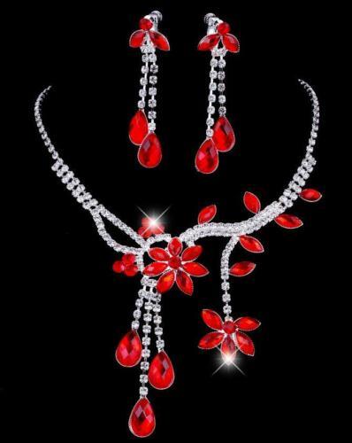 Rhinestone Bride Wedding Jewelry Set Flower Leaf Crystal Necklace Drop Earrings