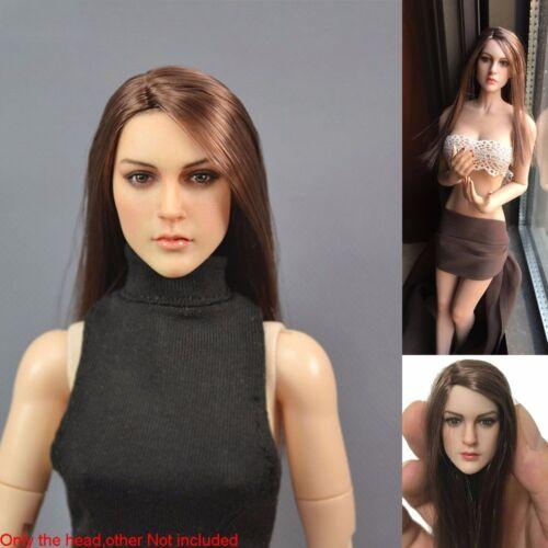 "1//6 American European Woman Brown Hair Head Sculpt For 12/"" Hot Toys Phicen Body"
