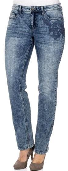 Neu damen jeans denim batik stretch gerades bein blue bluee über lang 116 (58)