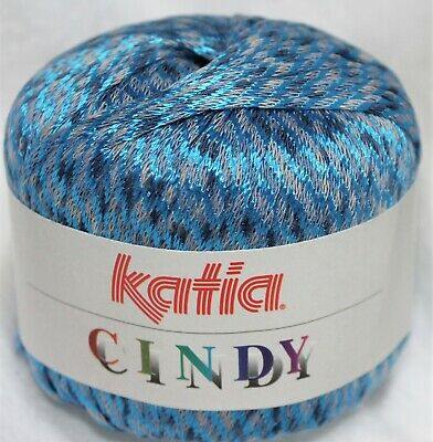 1 Ball Katia Cindy Shiny Woven Ribbon Yarn Col 10 The Blues