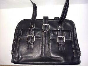 Soft Briefcase Laptop Bag Black Leather