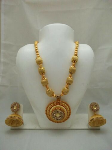 Indian Women Bridal Necklace Set Gold Plated Silk Thread Jewelry Handmade