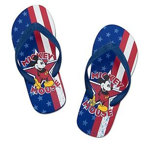 Disney-Americana-Patriotic-Stars-amp-Stripes-Mickey-Mouse-Mens-Flip-Flops-Size-12