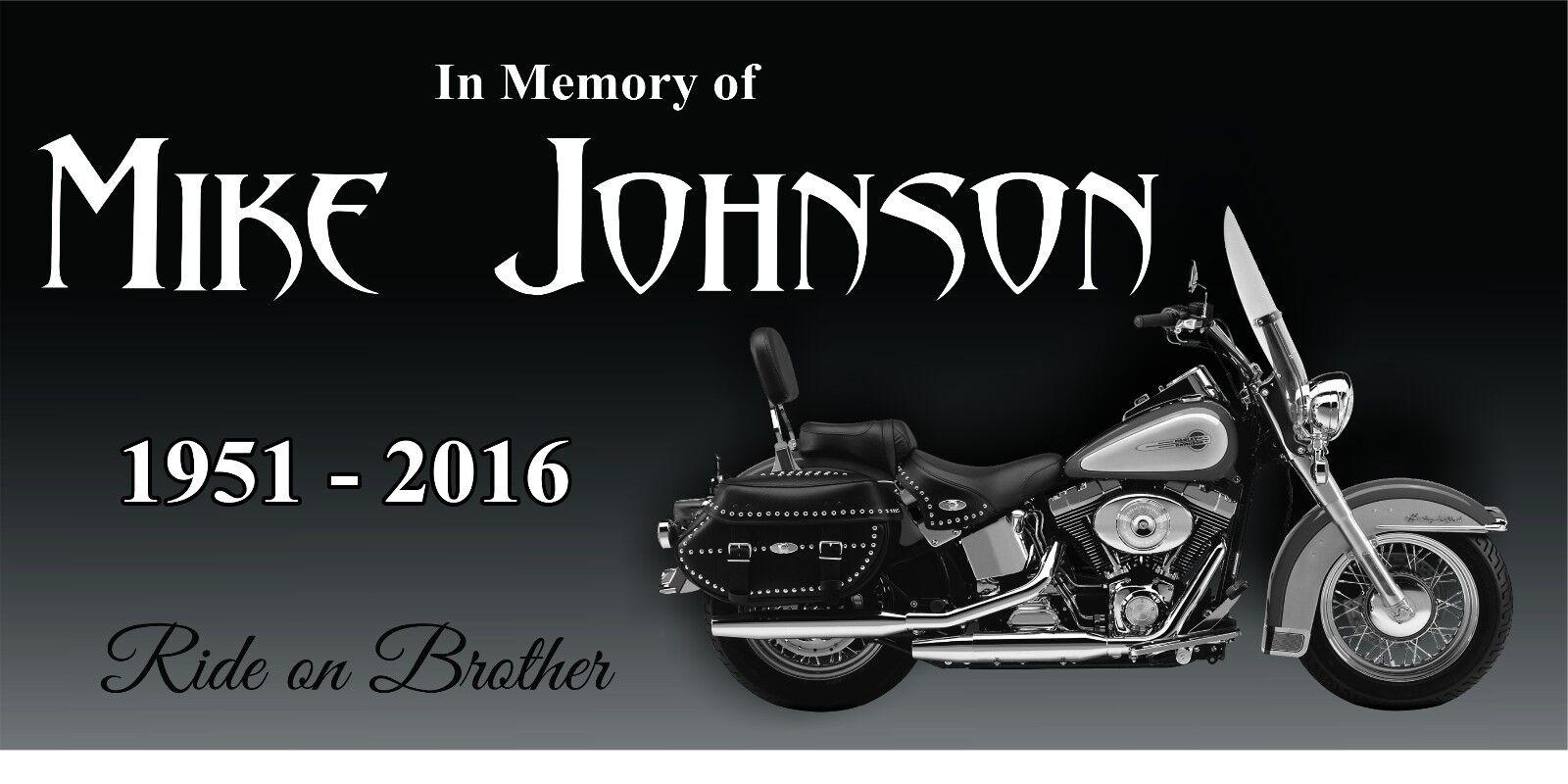 Personalized Pet Stone Memorial Grave Marker Granite Human People Motorcycle