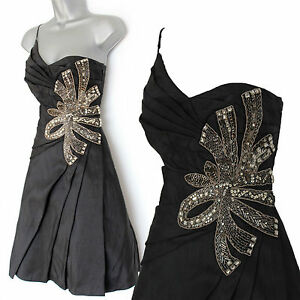 Karen-Millen-Black-Taffeta-1-Shoulder-Embellished-Jewel-Cocktail-Prom-Dress-10