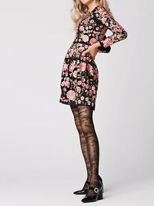 8fb7b48fc FiORE Frida Floral Seamed Patterned Sheer to Waist Tights 30 Denier ...